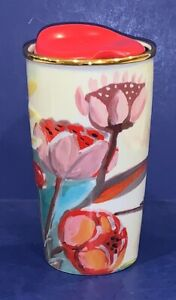 STUNNING-STARBUCKS-RED-FLORAL-2014-SPECIAL-EDITION-GOLD-TROPICAL-COFFEE-TUMBLER