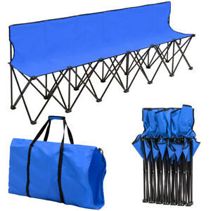 Groovy Details About Portable Folding 6 Seats Chair Sideline Sports Bench W Seat Backcarry Bag Blue Dailytribune Chair Design For Home Dailytribuneorg