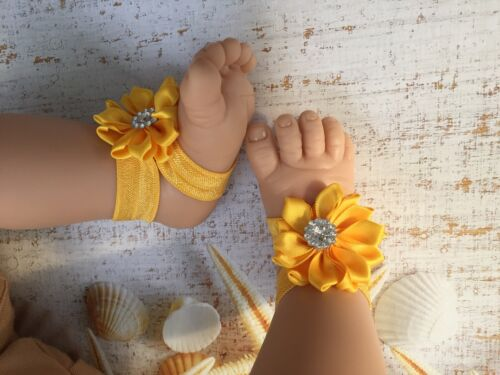 New Baby Girl Barefoot Flower Handmade Sandal Shoes VERY soft 0-12 months