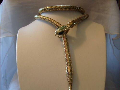 "Details about  /Vintage Whiting /& Davis Gold Mesh Snake Belt//Necklace Green Rhinestone Eyes 44/"""