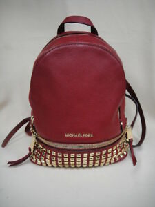 4e0ddaf0c26f Image is loading Michael-Kors-Cherry-Pebble-Leather-Studded-RHEA-Backpack-