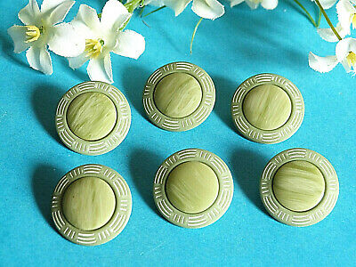 """1970 1004//Chequerboard Buttons /"""" Art Deco /"""" Yellow And White Set Of 6 Ép"""