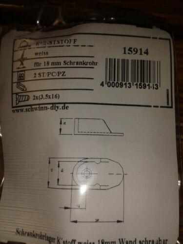 8 Schrankrohrlager Kunststoff weiß 18 mm Rohr Rohrlager Kleiderstangenhalter
