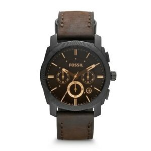 FOSSIL-Watch-FS4656-Men-039-s-Machine-Mid-Sized-Chronograph-Leather-Strap-Brown