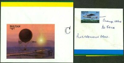 Of Flight Set/ss Master Proofs Relieving Rheumatism And Cold Asia Orderly Bhutan 1983 200th Anniv Stamps