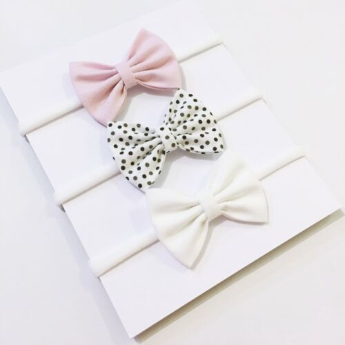 3X Newborn Baby Bow Headband Hair Clip Toddler Girl Hair Bow  Soft Pink
