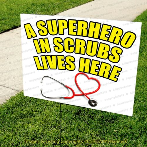 A HERO LIVES HERE Yard Signs for Frontline Workers NURSES EMT DOCTORS model d
