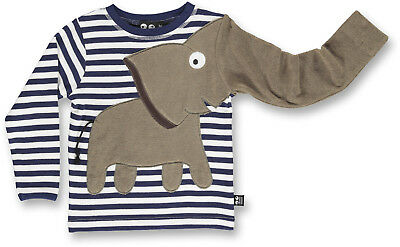 FäHig Ubang Babblechat Elephant Tee Longsleeve Elefant Shirt Indigo Stripe ~neu Ein Bereicherung Und Ein NäHrstoff FüR Die Leber Und Die Niere