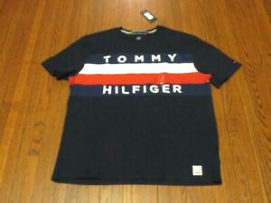 7290b9427 Men s NWT Tommy Hilfiger Upstate Big Logo Flag Navy Blue T-Shirt sz ...