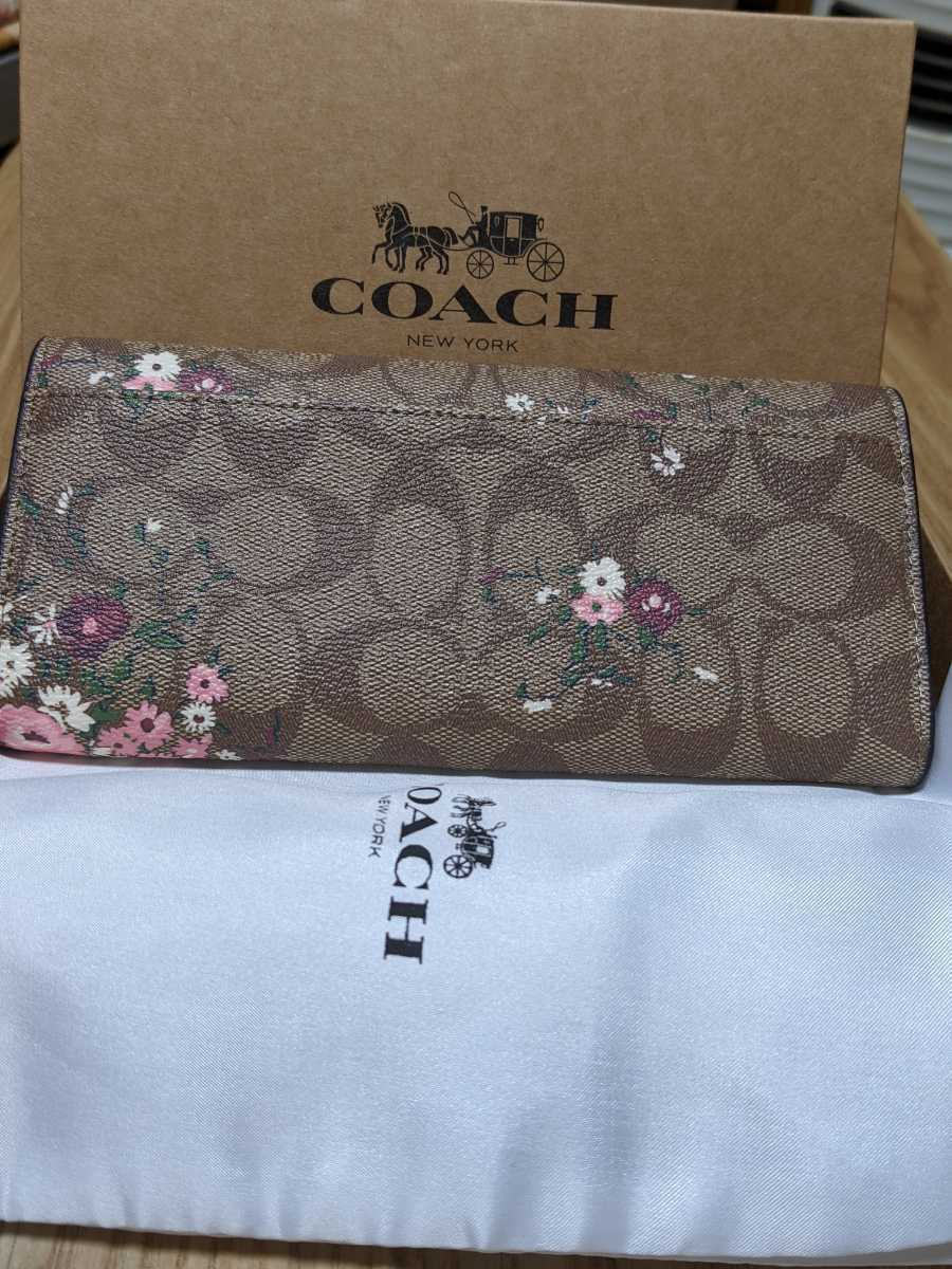 Coach Pink signature floral flower pattern purse wallet brown without box