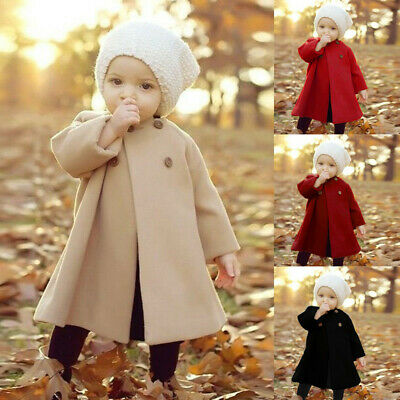 Toddler Kids Baby Girls Winter Warm Trench Wind Coat Hooded Outerwear Jacket