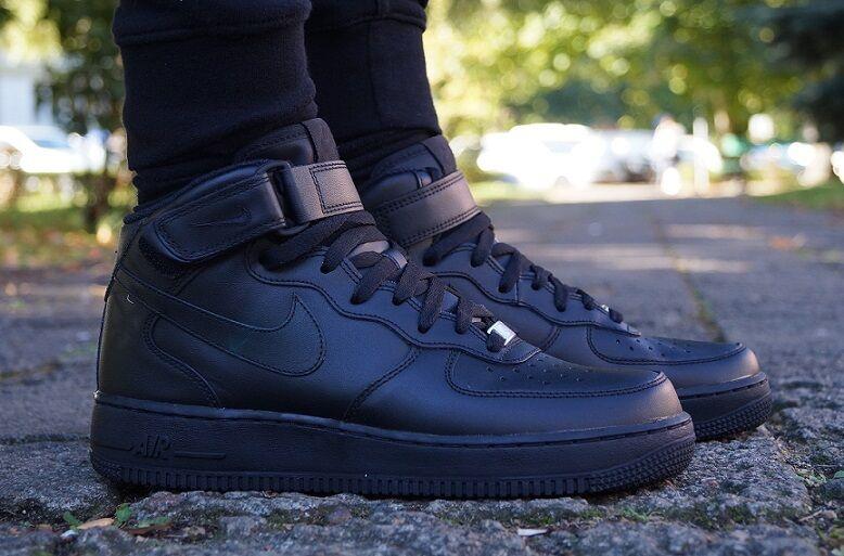Neu Schuhe NIKE AIR FORCE 1 MID High Top Sneaker Schwarz Turnschuhe 315123001