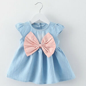 Summer-Toddler-Kids-Baby-Girls-Tutu-Dress-Bow-Denim-Princess-Party-Wedding-Dress