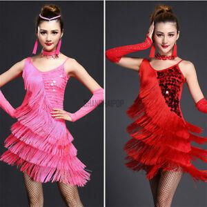 42c52e7742183 Women Latin Dance Dress Salsa Cha Cha Tango Ballroom Costume Sequin ...
