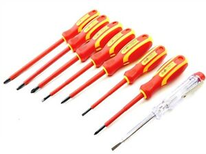 TOOLZONE-8PC-ELETTRICO-isolati-VDE-screwdrivers-amp-Rete-Elettrica-Tester-Set