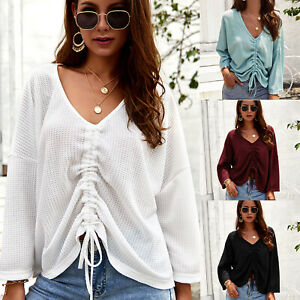 cc2d427e3a5bb Details about Women Ruched V Neck Baggy Pullover Top Blouse Knitted  Oversized Sweater Jumper