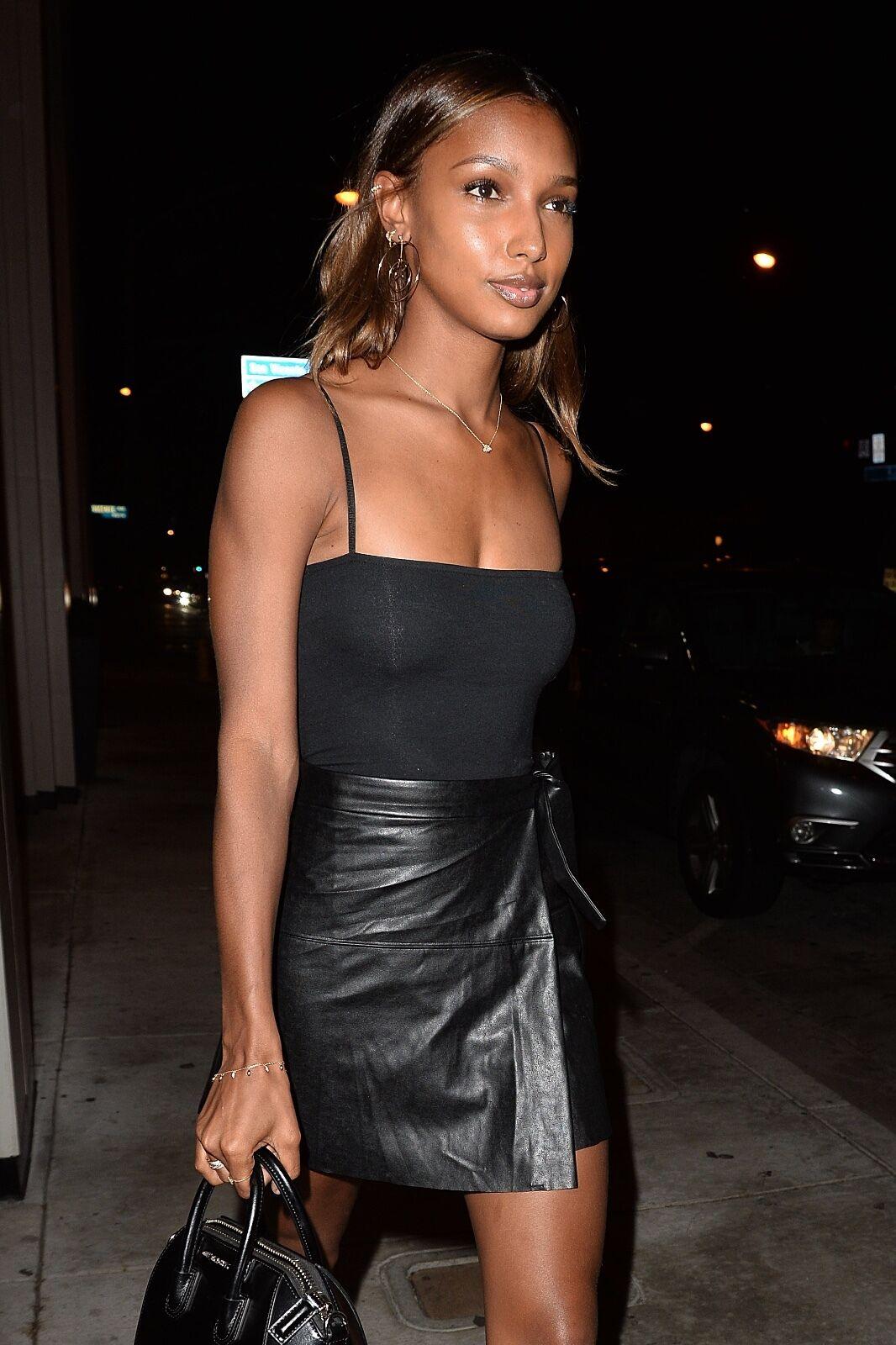 Jasmine Tooks Style Inspired  Genuine Lambskin Leather Wrap Skirt