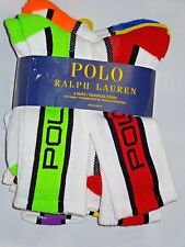 POLO Ralph Lauren white w colors crew athletic SOCKS lot of 6 pair