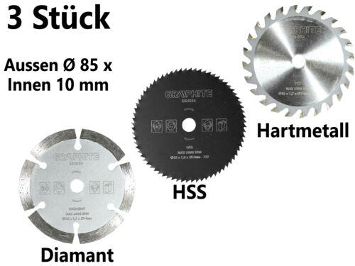 3 x Diamant Hartmetall Kreissägeblatt Set Ø 85 mm Trennscheibe Handkreis Säge