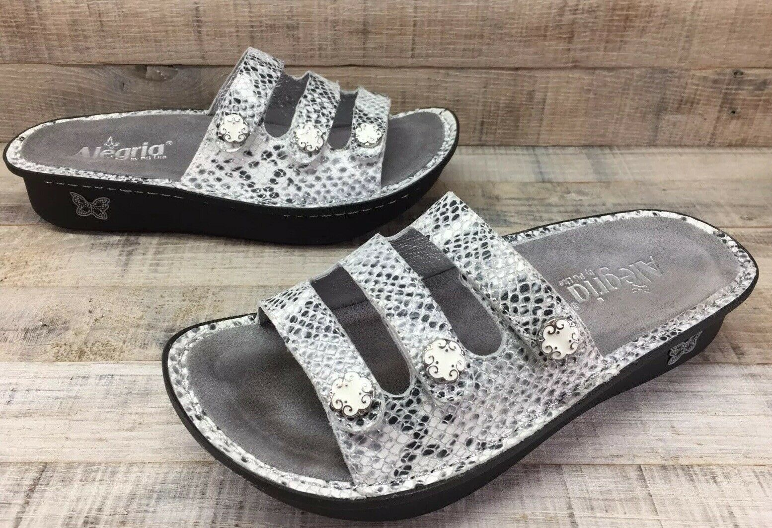 Alegria Fiona FIO Snake Embossed 3 Strap Sandals Women's 8-8.5   38 Excellent