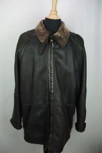 LaMatta Black Leather Shearling Long Mens Overcoat Jacket Sz 46 US Made in Italy