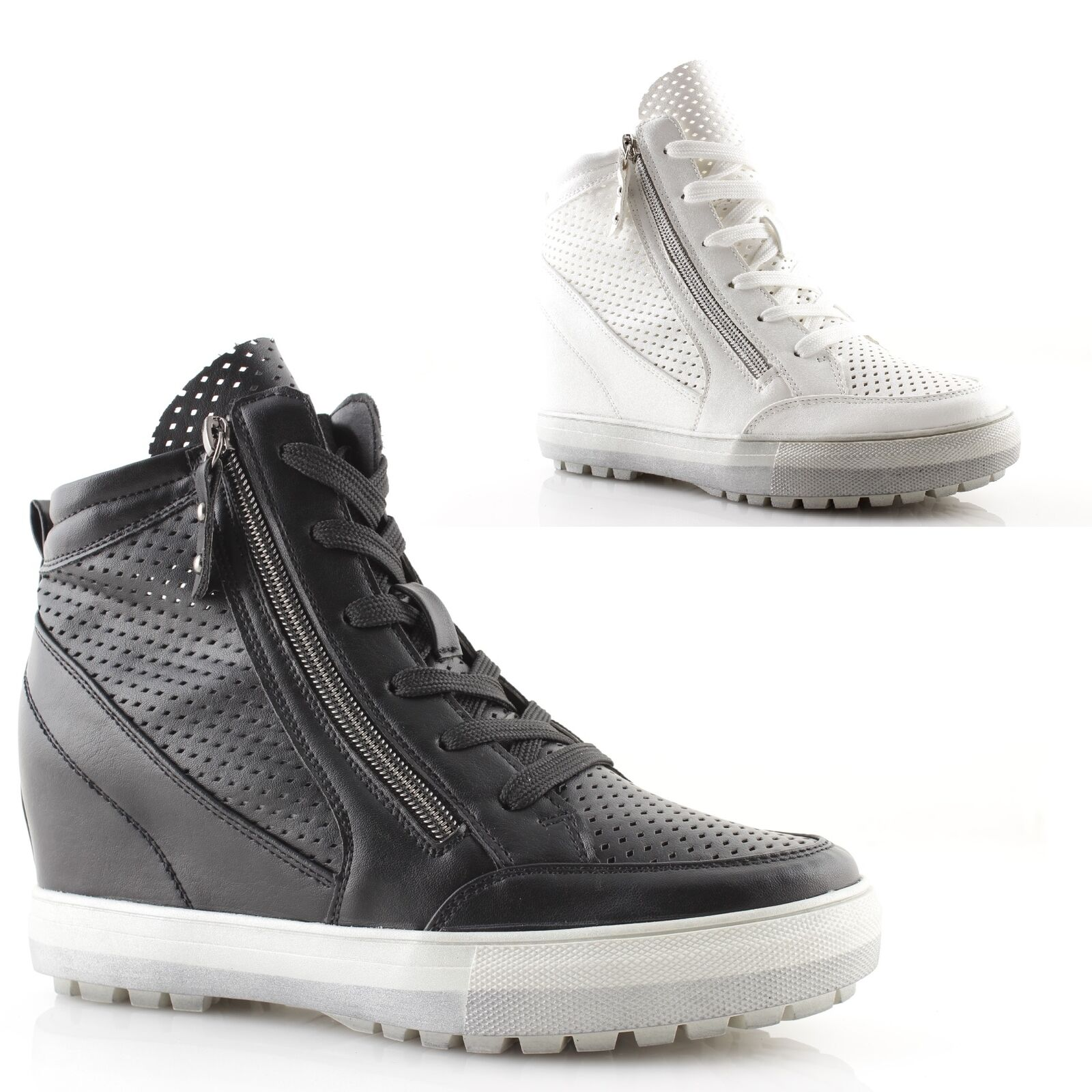 Woman Sneakers Wedges Internal High Black White Lace-Up shoes Kiss Kriss