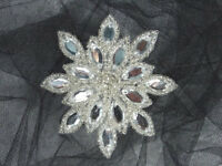 Beaded Applique Crystal Silver Snowflake Jeweled Star Rhinestone Center Patch 3