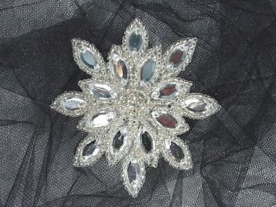 XR32  Crystal Silver Snowflake Jewel Beaded Applique 3""