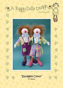 SQUIGGLES-CLOWN-Sewing-Craft-PATTERN-Cloth-Rag-Doll-Clowns