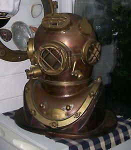 Vintage Brass & Copper Diving Helmet Table Divers Decor