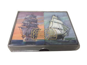 Vintage-Plastic-Coated-Playing-Cards-Sail-Boat-Ship-in-Nice-Plastic-Case-2-Decks