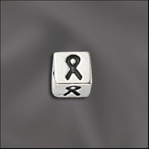 5.5mm with 4mm Hole Letter Sterling Silver Alphabet Bead Ribbon
