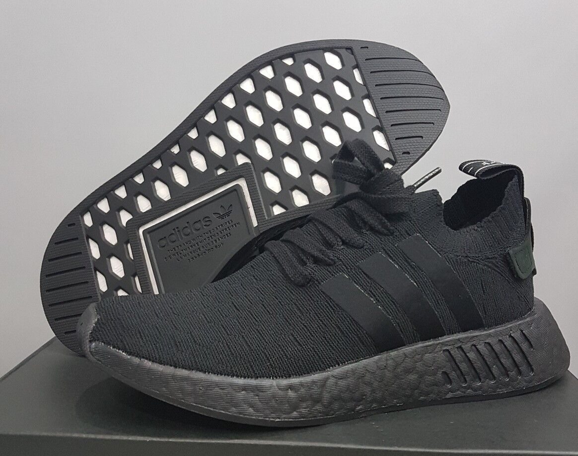 WOMEN'S ADIDAS NMD_R2 PK W TRIPLE BLACK BY8525 100% AUTHENTIC FAST SHIPPING