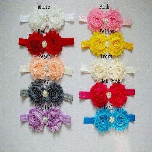 Wholesale Baby Girl Kids Peony Daisy Flower Hair Bows for Headband Soft Strecth