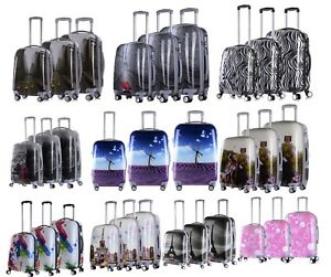 Hard-Shell-4-Wheels-Suitcase-PC-Luggage-Travel-Bag-Case-Cabin-Hand-Carry-On-New