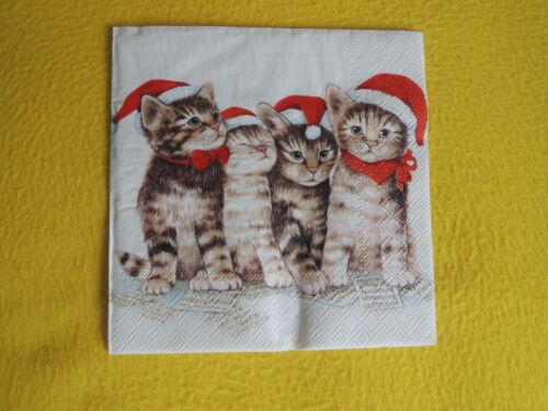 5 Servietten Katzen Weihnachten SINGING CATS 1//4 Serviettentechnik Musik Mützen