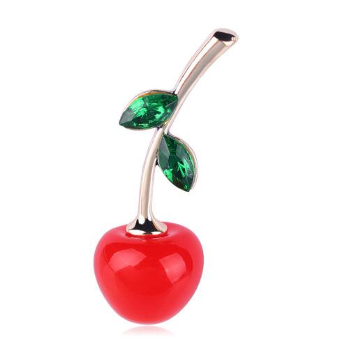 Strass Cristal Rouge Cerise Plaqué or fruits et plantes écharpe épingle et broche