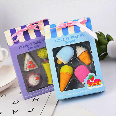 Cute Cartoon Ice Cream Style Eraser Soft Rubber Kids Stationery Random Color HIC