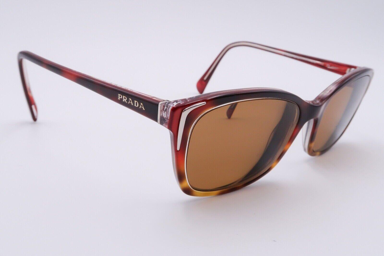 Prada SPR 02O Rx Sunglasses FRAMES Cat Eye 54[]17-140 Tortoise Brown Red D272