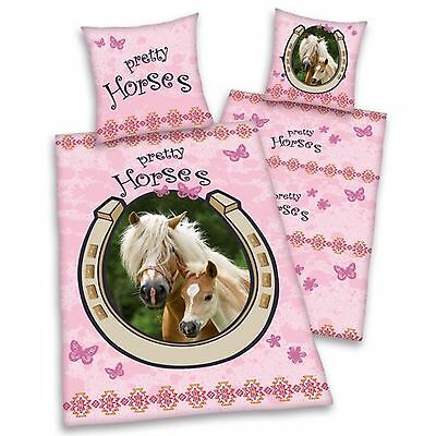 PRETTY HORSES PINK SINGLE DUVET COVER SET HORSE & FOAL CHILDRENS BEDDING NEW