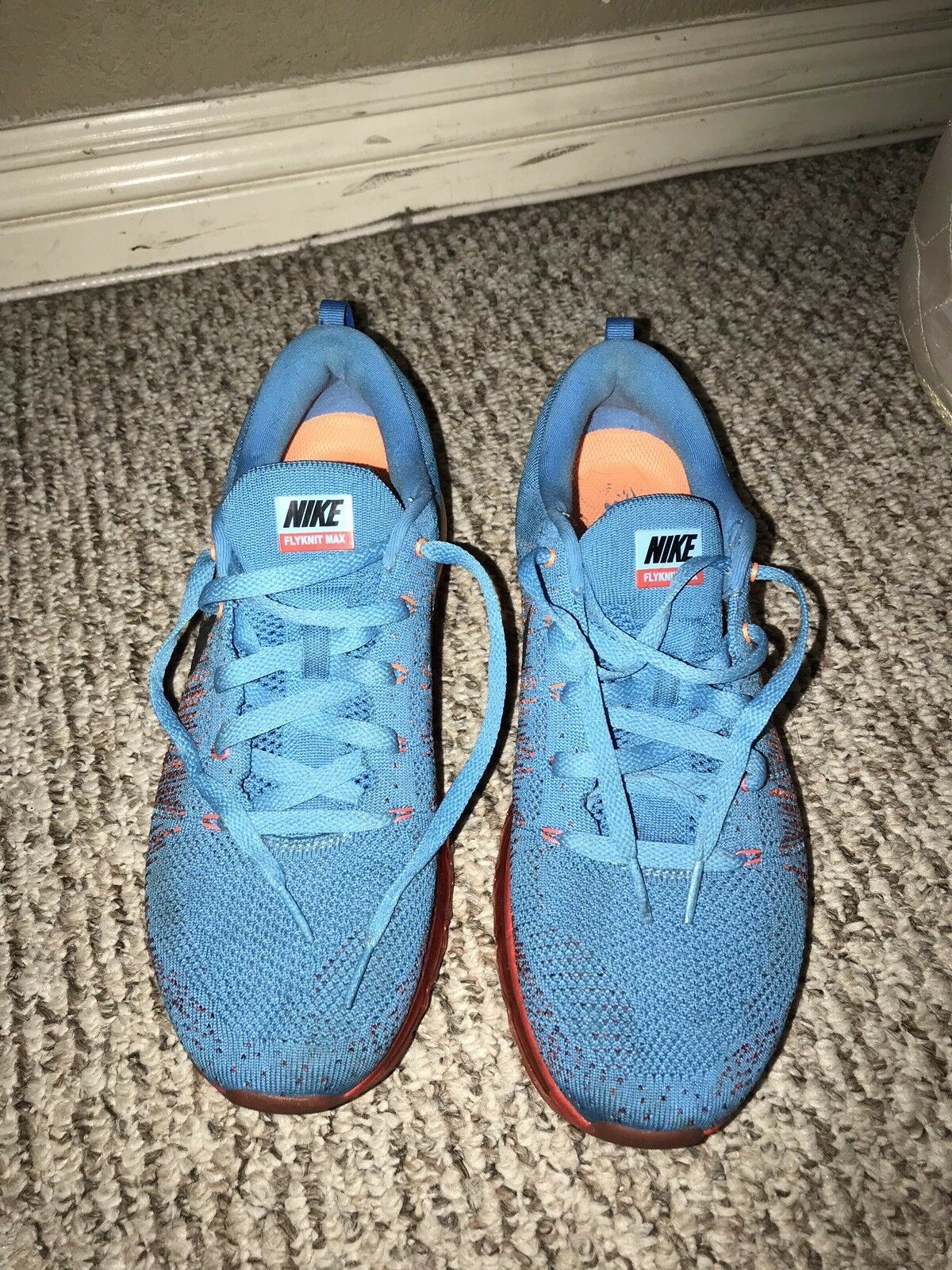 AUTHENTIC Nike Flyknit Max Shoes in Blue-Orange SIZE 9