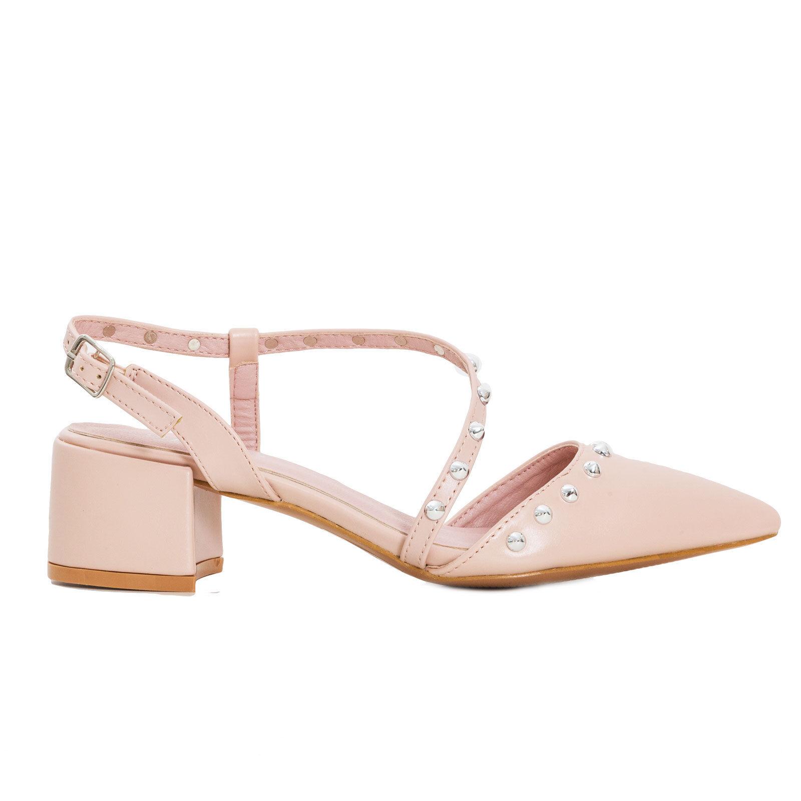 Scarpe donna punta sabot sandali decollete punta donna borchie tacco grosso eleganti ZA6330 8e5d9a