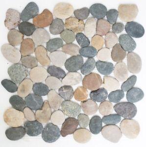 Mosaïque rivière galet pierre galet noir plat beige gris 30-1204_f ...