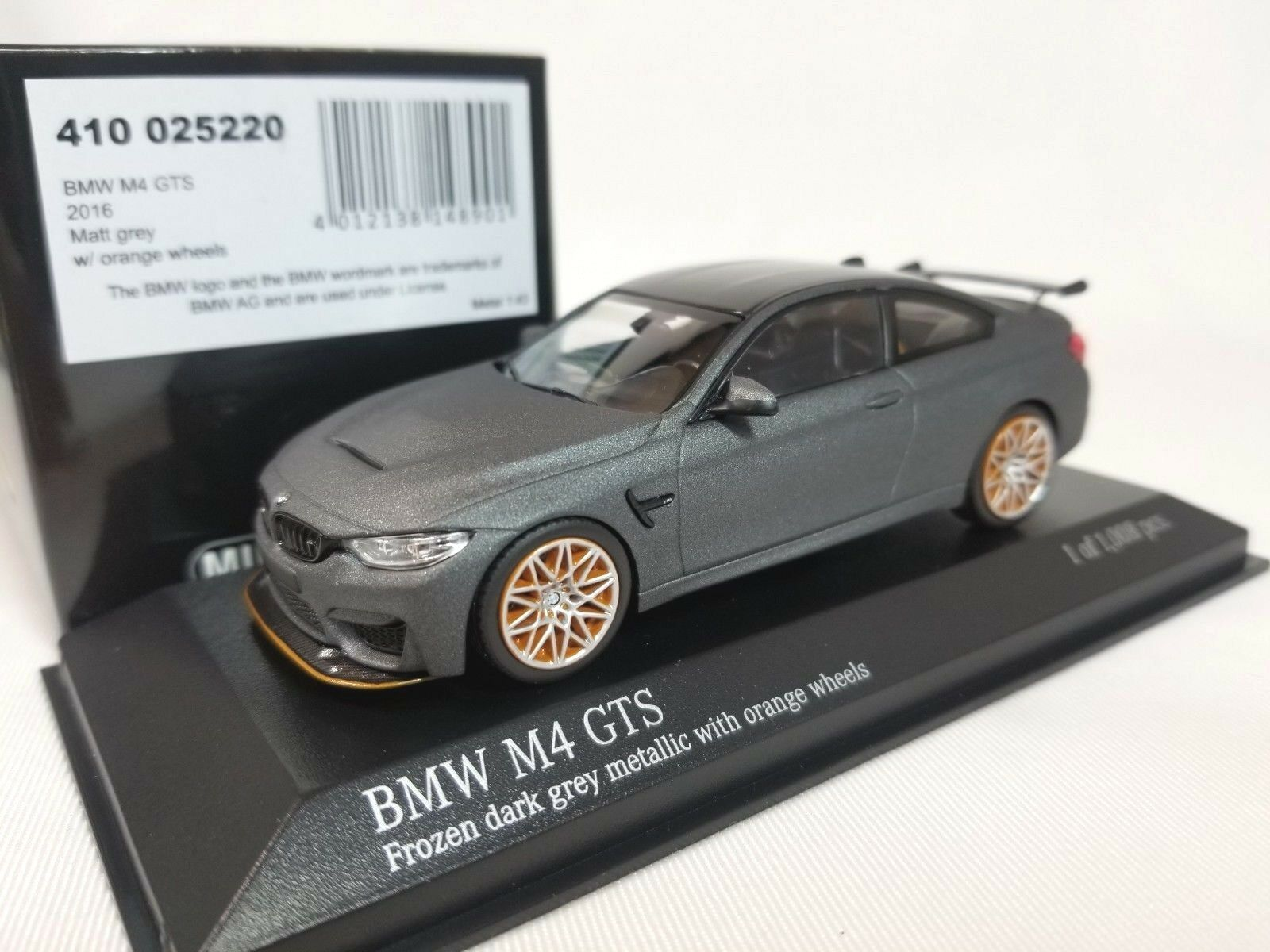 1 43 Minichamps BMW M4 GTS Coupe F82 2016 Twin Turbo I6 Matt Grey orange Wheels