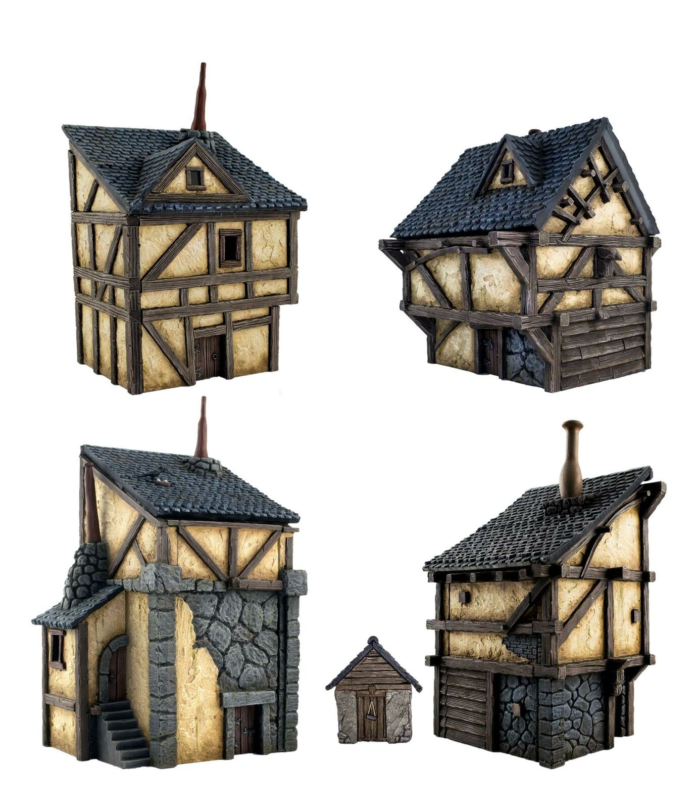 WWG Fantasy Village Village Village Set of 4 Houses – 28mm Medieval