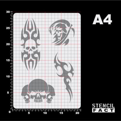 BT415 A4 Schablone Skull Reaper Tattoo Tribal