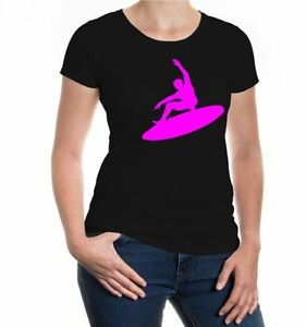 Damen-Girlie-T-Shirt-Surfing-Sport-Silhouette-Windsurfen-wind-surfing-beach
