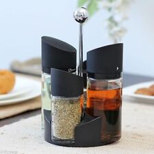 4Pc Salad Dressing Spice Herb oil vinegar Glass rack Kitchen Table Stand
