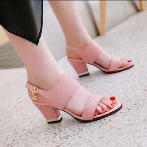 Women-039-s-Slingbacks-Med-Block-Heels-Pumps-Sandals-Open-Toe-Shoes-Casual-Plus-Size