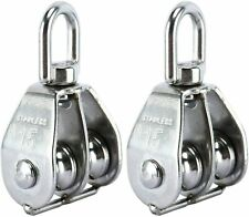 2x M15 Swivel Wheel Double Pulley Block Crane Hook Rigging Lifting Rope Roller